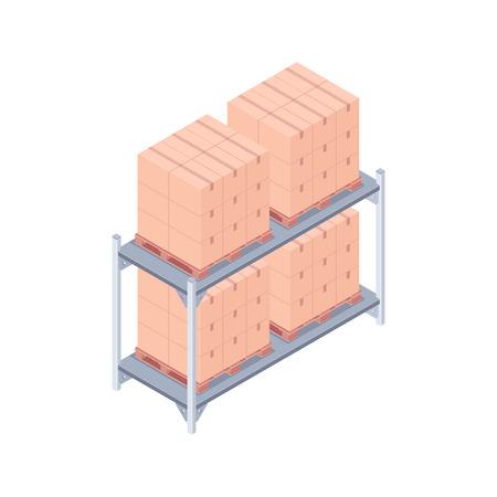 Isometric pallet rack with boxes. Ilustração