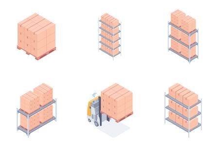 Set of boxes on racks on a white background. 일러스트