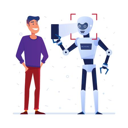 Illustration of a man and a robot Illusztráció