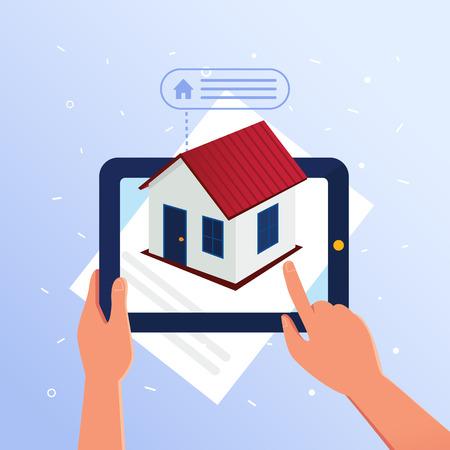 Hands using a tablet with a house illustration Illusztráció