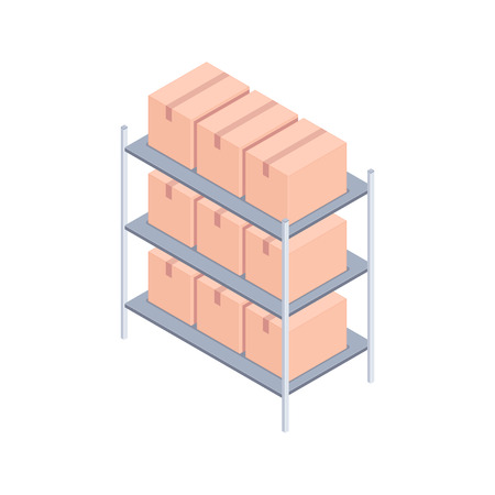 Isometric racks with boxes. Metal rack loaded with cardboard boxes for delivery and storage. Cargo concept. Design for landing page of modern warehouse. Vector 3d illustration on white background. Stock Photo