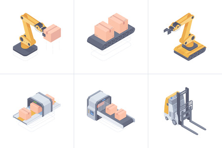 Concept of smart warehouse. Set of smart warehouse devices consist of robot arm, forklift, conveyor belt, boxing and packging line. Vector 3d isometric illustration on white background. Banco de Imagens