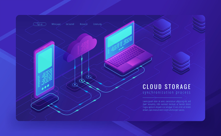 Isometric cloud storage landing page concept. Synchronization backend cloud data storage with laptop and smartphone on ultraviolet background. Upload-download process. Vector 3d isometric illustration