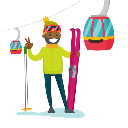 Black man with skis standing on the background of cableway. Young skier using cableway at winter ski resort. Winter sport concept. Vector cartoon illustration isolated on white background.