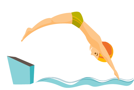 Young caucasian white sportsman jumping in the swimming pool. Professional swimmer diving fish style into the swimming pool. Vector cartoon illustration isolated on white background. Horizontal layout
