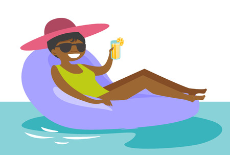 Young african-american woman in sunglasses relaxing in swimming pool. Cheerful woman in glasses sitting on rubber inflatable chaise longue on water. Vector cartoon illustration. Horizontal layout.