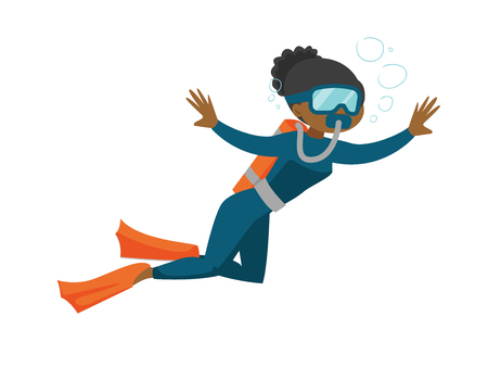 Young african-american woman in diving suit and fins swimming underwater with scuba. Woman enjoying the dive. Vector cartoon illustration isolated on white background. Horizontal layout.