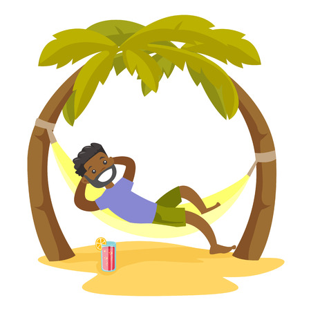 Young happy african-american man relaxing on the beach in a hammock under the palm trees. Cheerful man lying in hammock on tropical beach. Vector cartoon illustration isolated on white background.