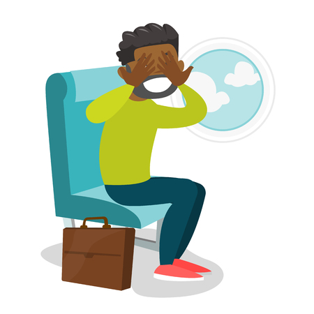 Young african-american man shocked by plane flight in the turbulent area. Frightened airplane passenger sitting in airplane seat and suffering from phobia. Vector cartoon illustration. Square layout.