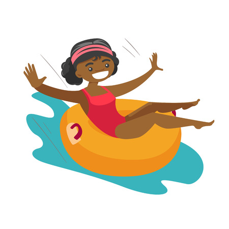 Young african-american woman on rubber ring riding down a waterslide at the aquapark. Happy woman having fun on a water slide in waterpark. Vector cartoon illustration isolated on white background.