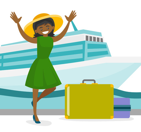 Young african-american tourist with a suitcase standing on the background of cruise liner. Travel and tourism, vacation and holiday concept. Vector cartoon illustration isolated on white background. Stock Illustratie