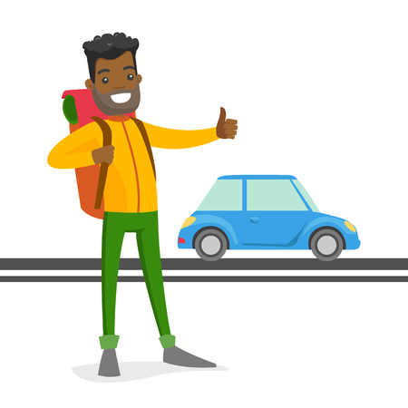 Young black man with a backpack holding thumb up to catch a taxi car. Hipster hitchhiking man trying to stop a taxi car on a highway. Vector cartoon illustration isolated on white background