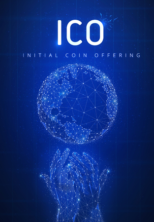 ICO initial coin offering futuristic hud background with glowing polygon world globe, hands, blockchain peer to peer network and title ICO. Global cryptocurrency business and finance banner concept.