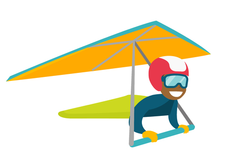 Black woman flying on hang-glider. Sportswoman taking part in hang gliding competitions. Woman having fun while gliding on delta plane in sky. Vector cartoon illustration. Horizontal layout. Фото со стока