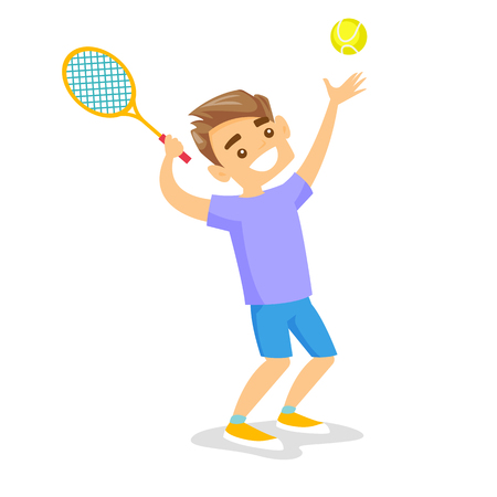 Caucasian white tennis player hitting the ball with a tennis racket. Young cheerful man playing tennis. Concept of sport and physical activity. Vector cartoon illustration isolated on white background