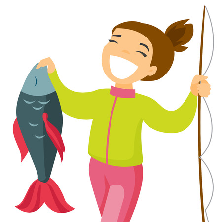 Happy caucasian white fisherwoman proud of catch after fishing. Young cheerful woman fishing. Angler holding a big fish hands. Vector cartoon illustration isolated on white background. Square layout.
