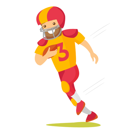 Caucasian white rugby player in helmet and uniform holding ball in hand. Full length of male american football player running with ball. Vector cartoon illustration isolated on white background.