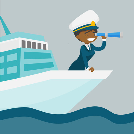 Young black female ship captain in uniform standing on the bow of the cruise ship and looking through a telescope. Vector cartoon illustration isolated on white background. Square layout.