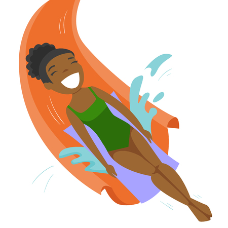 Young african-american woman riding down a waterslide with splash at the aquapark. Cheerful woman having fun on a water slide in waterpark. Vector cartoon illustration isolated on white background. Stock Photo