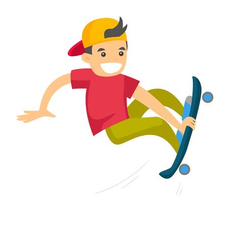 Caucasian white man riding a skateboard. Young sportsman skateboarding. Boy exercising with a skateboard. Leisure activities and sport concept. Vector cartoon illustration isolated on white background