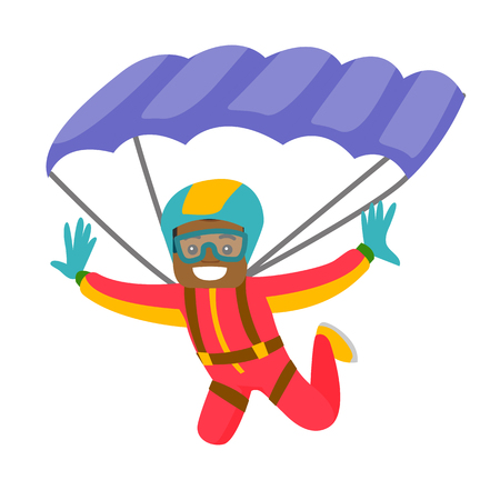 Black man flying with a parachute. Young happy man paragliding on a parachute. Professional parachutist performing sky dive jump. Vector cartoon illustration isolated on white background.