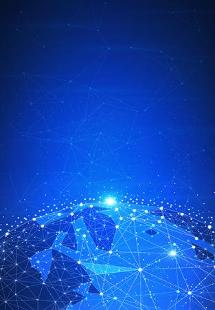 Fond de hud futuriste de technologie blockchain avec globe terrestre et polygone blockchain réseau peer to peer. Concept global de bannière d'entreprise fintech crypto-monnaie. Conception basse poly. Disposition verticale.