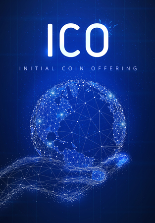 ICO initial coin offering futuristic hud background with glowing polygon world globe in a hand, blockchain peer to peer network and title ICO. Global cryptocurrency business and finance banner concept