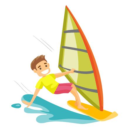 Een gelukkig man windsurfen in de zee.