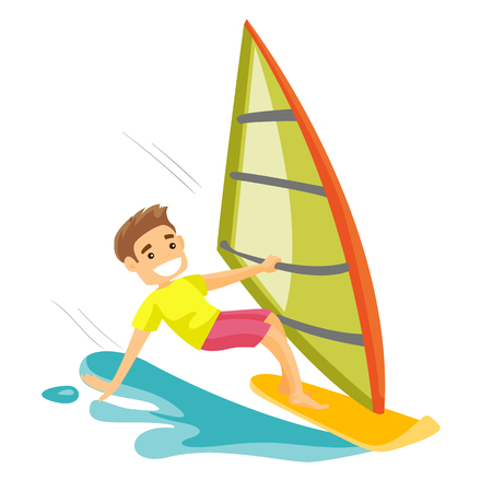 A happy man windsurfing in the sea. Vectores