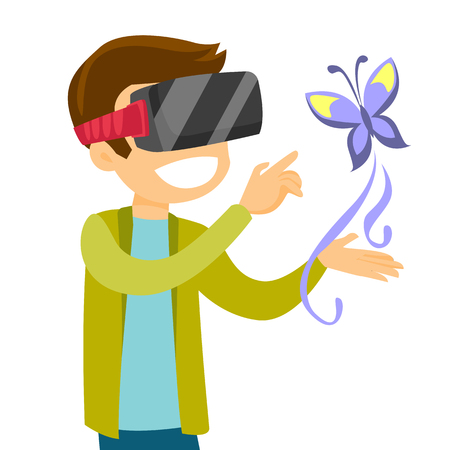 A man in VR headset with a butterfly projected with augmented technology.
