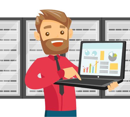 Un ingeniero de TI en la sala de servidores con una computadora portátil que muestra datos.