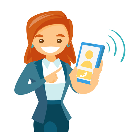 Young woman holding a smartphone. Illustration
