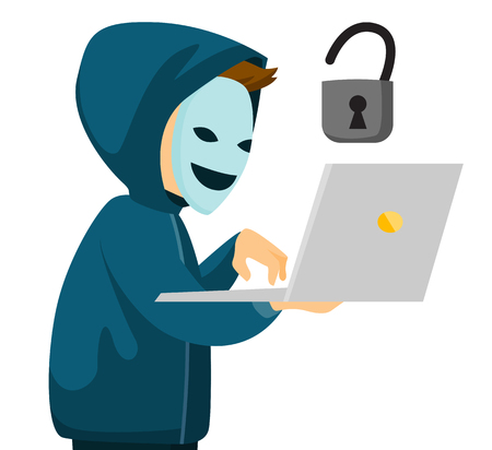 A hacker in mask holding a laptop.