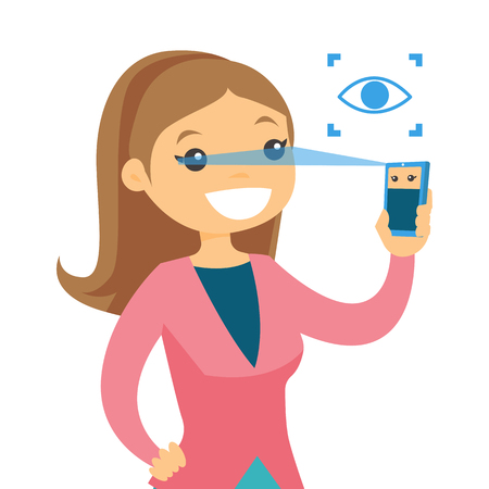 A woman scanning eyes with smartphone. Illustration