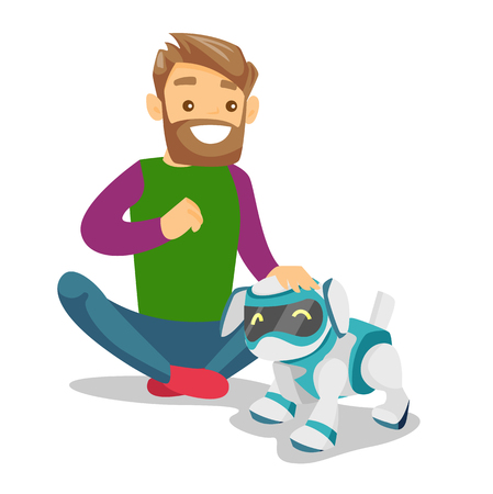 A man playing with dog robot.