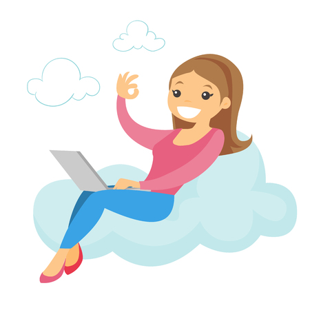 A woman sitting on a cloud working on a laptop showing an ok sign.