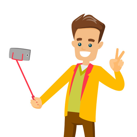 A man taking picture using his cellphone with a selfie stick. Illustration