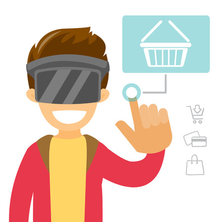 A man in virtual reality headset doing online shopping.