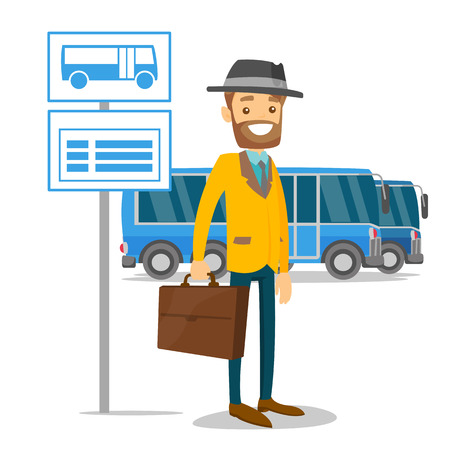 A man waiting a bus on a stop with timetable vector illustration Ilustrace