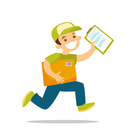 A courier running to deliver a package vector illustration