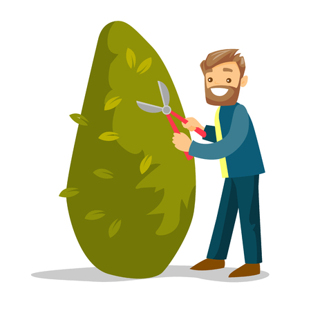 A gardener cutting a tree with scissors vector illustration  イラスト・ベクター素材