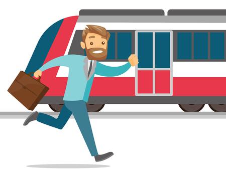 電車に乗ろうとするブリーフケースを持った男。
