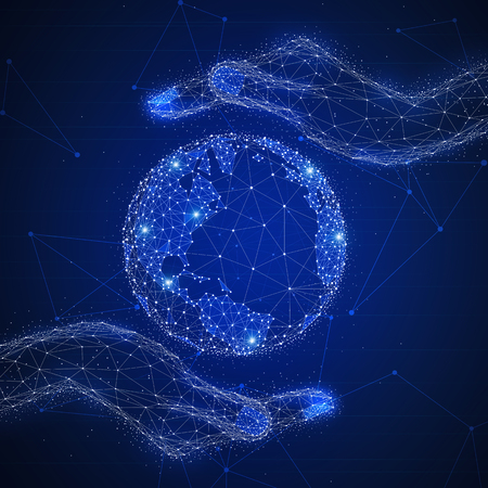 Blockchain technology futuristic hud background with world globe, hands around it and blockchain polygon peer to peer network. Global cryptocurrency fintech business banner concept.