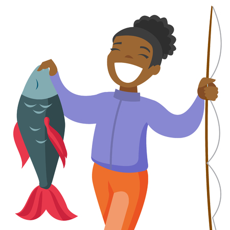 Happy black fisherwoman proud of catch after fishing. Young cheerful woman fishing. Angler holding a big fish hands. Vector cartoon illustration isolated on white background. Square layout.