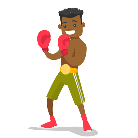 Smiling black boxer in red boxing gloves training during fitness workout. Male boxer exercising in boxing gloves. Vector cartoon illustration isolated on white background. Square layout. 矢量图像