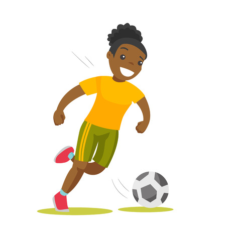 Young black soccer player kicking the ball during a game. Female football player hitting a soccer ball. Concept of sport and physical activity. Vector cartoon illustration. Square layout