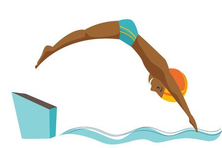 Joven deportista negro saltando en la piscina. Nadador profesional buceando estilo pez en la piscina. Ilustración de dibujos animados de vectores aislado sobre fondo blanco. Disposición horizontal