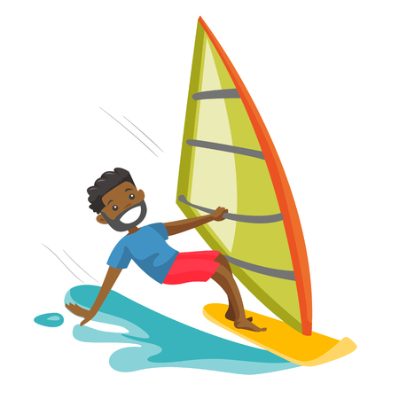 A happy man in wetsuit rushes on the windsurfing board with sail in sea. Windsurfing water sport and summer activities lifestyle concept. Vector cartoon illustration isolated on white background. Vectores