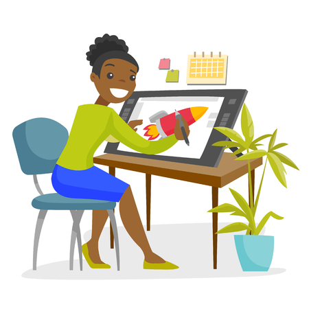 A black woman graphic designer or freelance artist works using a pen and touch screen at the office desk. Computer and web design concept. Vector cartoon illustration isolated on white background.