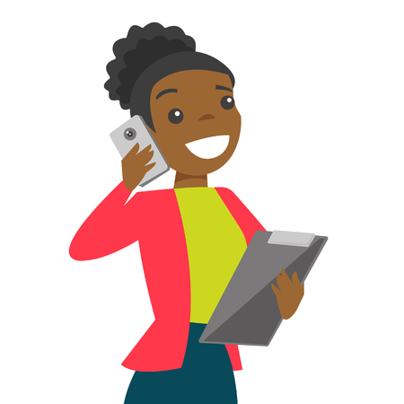 Black businesswoman negotiating on smartphone. Businesswoman holds folder for papers and speaks smartphone. Vector cartoon illustration isolated on white background.
